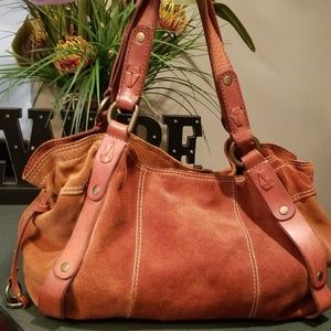Lucky Brand Italian Suede Leather Boho Lg. Bag